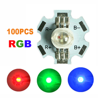 100pcs RGB LED COB Chip DIY LED Bulb Diodes Lamp 3W watts Red Green Blue High Power Light Beads With Star PCB SMD Round