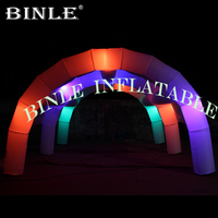 Outdoor night events white inflatable tunnel tent with led lighting arch styled inflatable pavilion for wedding party decoration