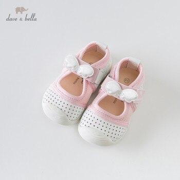 DB13757 ديف بيلا الربيع طفلة الأبيض القوس أحذية الأطفال العلامة التجارية حذاء كاجوال