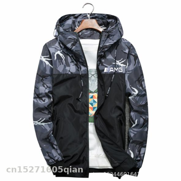 Motorcycle Windproof Jacket For AMG Logo In Car Men\\\\'s Jackets Camouflage Hooded Outdoor Mountain Coats Casual Zip