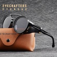 EYECRAFTERS 2019 الرجال Steampunk من القوطية نظارات شمسية المرأة الرجعية أزياء والجلود مع الجانب ظلال جولة نظارات شمسية