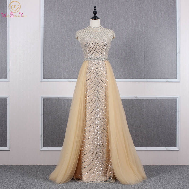 Luxury Prom Dresses Vestido De Formatura Longo 2019 Champagne Beaded Crystal Sequined A Line Skirt Cap Sleeve High Neck Evening