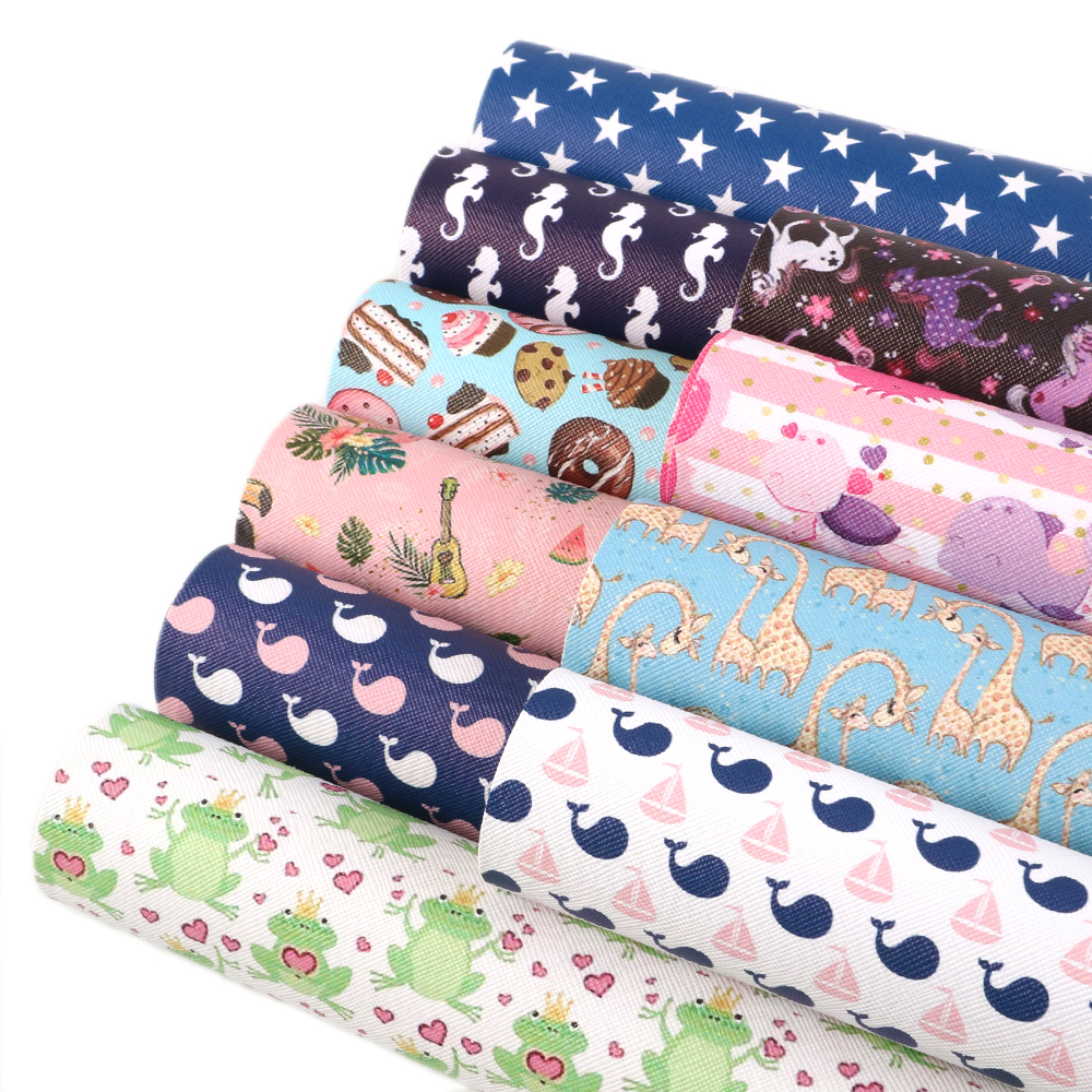 New 20*34cm Girls Printed Faux Synthetic Leather Patchwork For Hair Bow Bags Phone Cover DIY Projects,1Yc5964