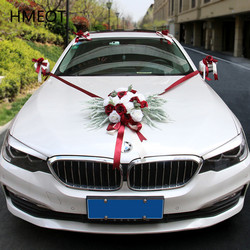 Wedding Car Decoration Flowers Set White Artificial Rose Lavender Garland With Sucker Ribbon Corner Flower For Wedding Car Props