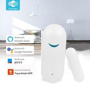 Sensor de puerta WIFI Tuya, Control por aplicación, alarma de seguridad de puertas, interruptor magnético inalámbrico de ventana y puerta, Sensor de apertura que funciona con Alexa y Google