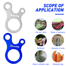 Rope Buckle Carabiner Guyline-Adjustment BESPORTBLE Outdoor Anti Tent 3-Hole 8pcs Fast-Knot