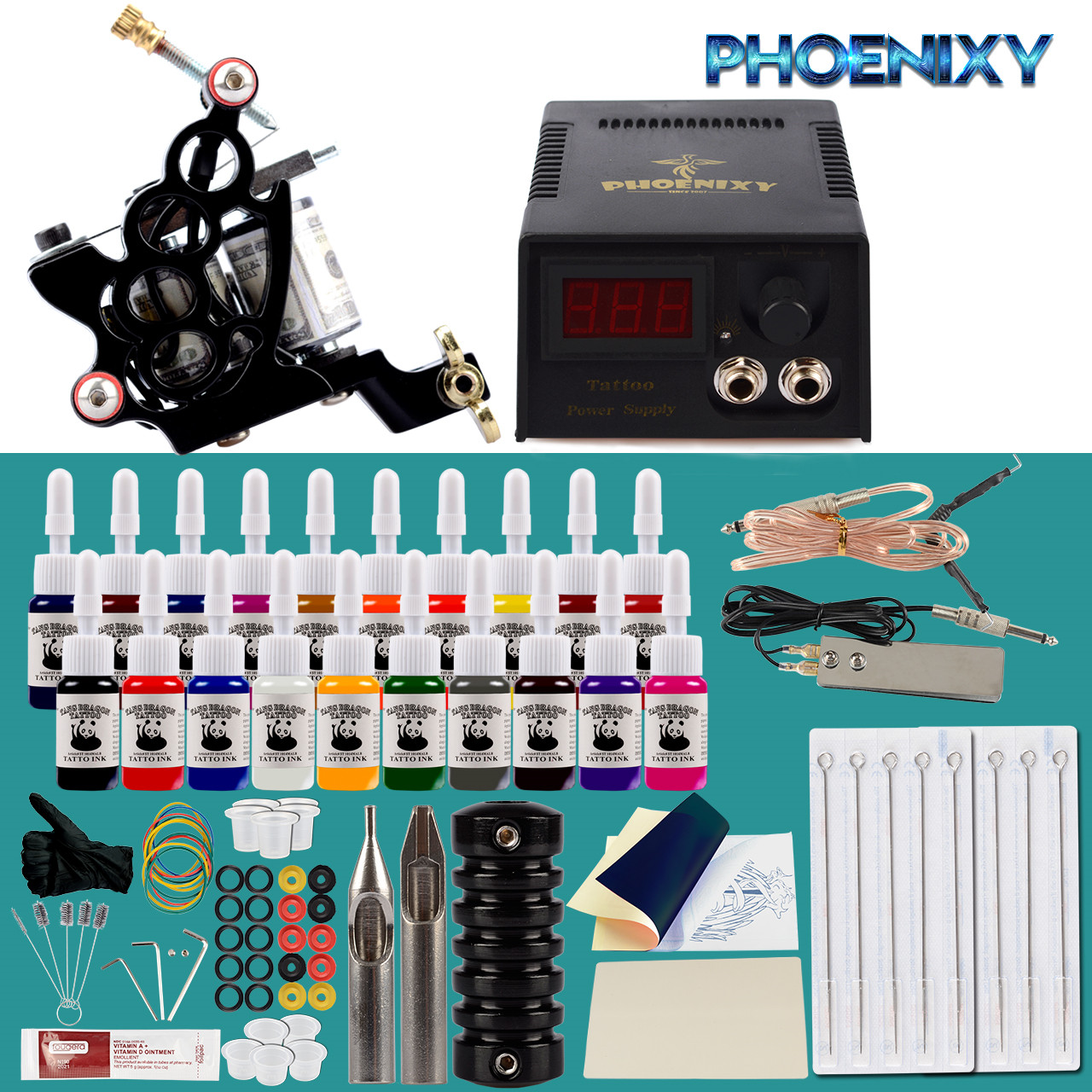 Complete Tattoo Kit Tattoo Machine Set 60ml Black Inks Pigment Power Supply Tattoo Needles For Complete Tattoo Accessories Set