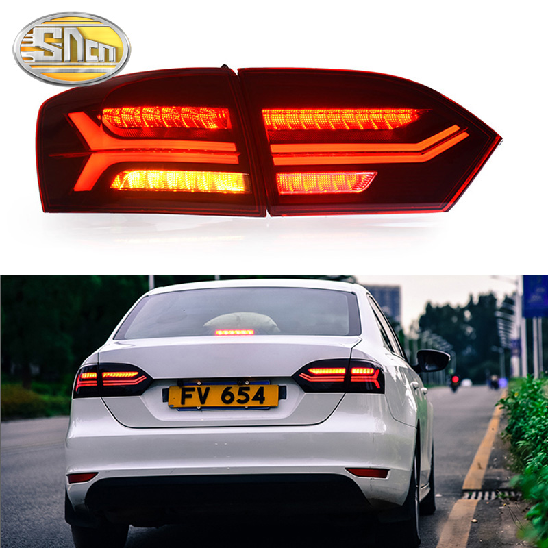 Car LED Tail Light Taillight For Volkswagen Jetta MK6 2012 2013 2014 Rear Fog Lamp + Brake Light + Reverse + Dynamic Turn Signal