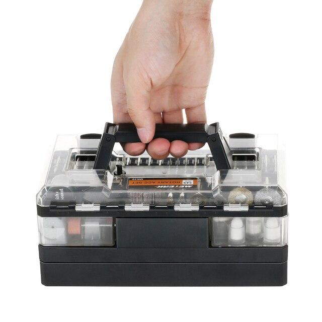 """Meterk Juego de accesorios para herramientas rotativas, 349 Uds., 1/8 """", Kit de accesorios para amoladora eléctrica, lijado, perforación de grabado"""