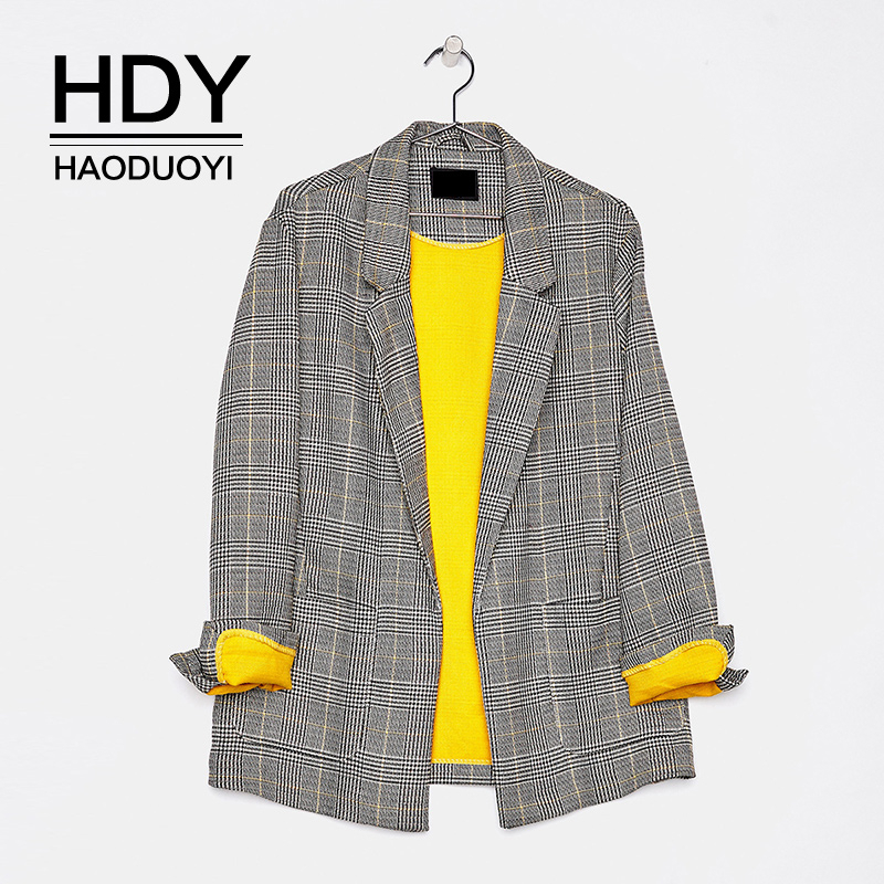 HDY Haoduoyi Fashion Vintage Casual Office Lady Pockets Long Sleeve Stitching Color Classic Plaid  Autumn Women Suit