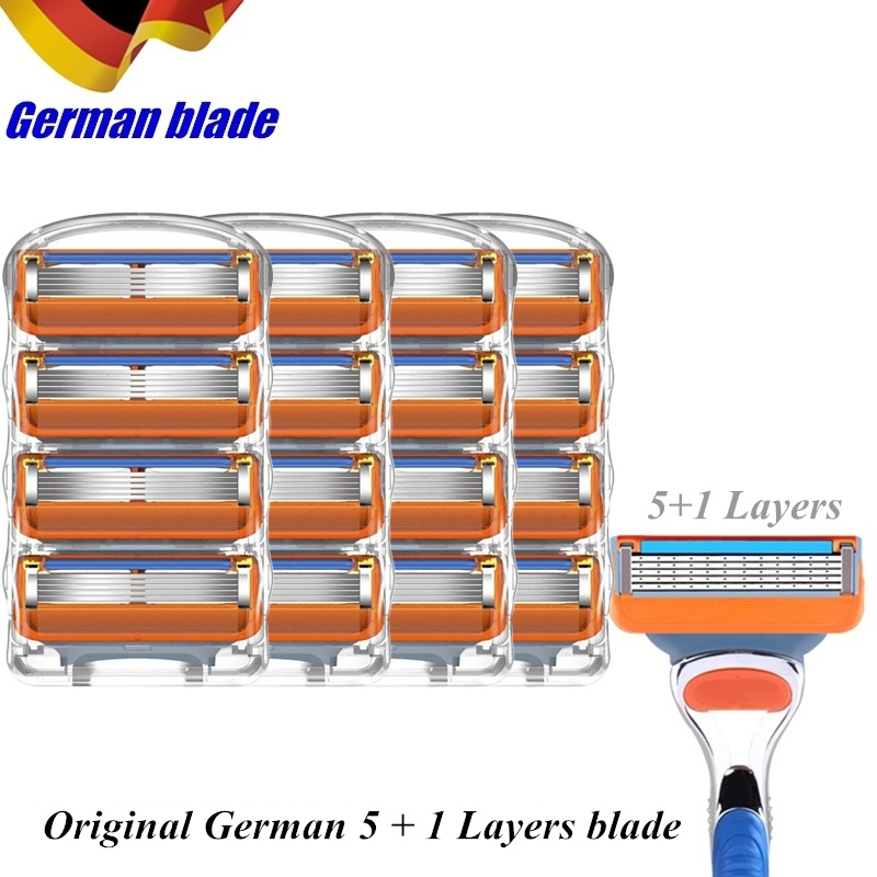 16pcs / Lot Fusion Replacement Head Shaving Cassettes 5 1 Layers Stainless Steel Razor Blades Straight Razor Blades For