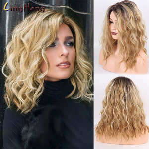 LINGHANG Short Wavy Blonde Ombre Brown Synthetic Heat Resistant Fiber Wigs For Black Women For Wedding Cosplay Women's Daily