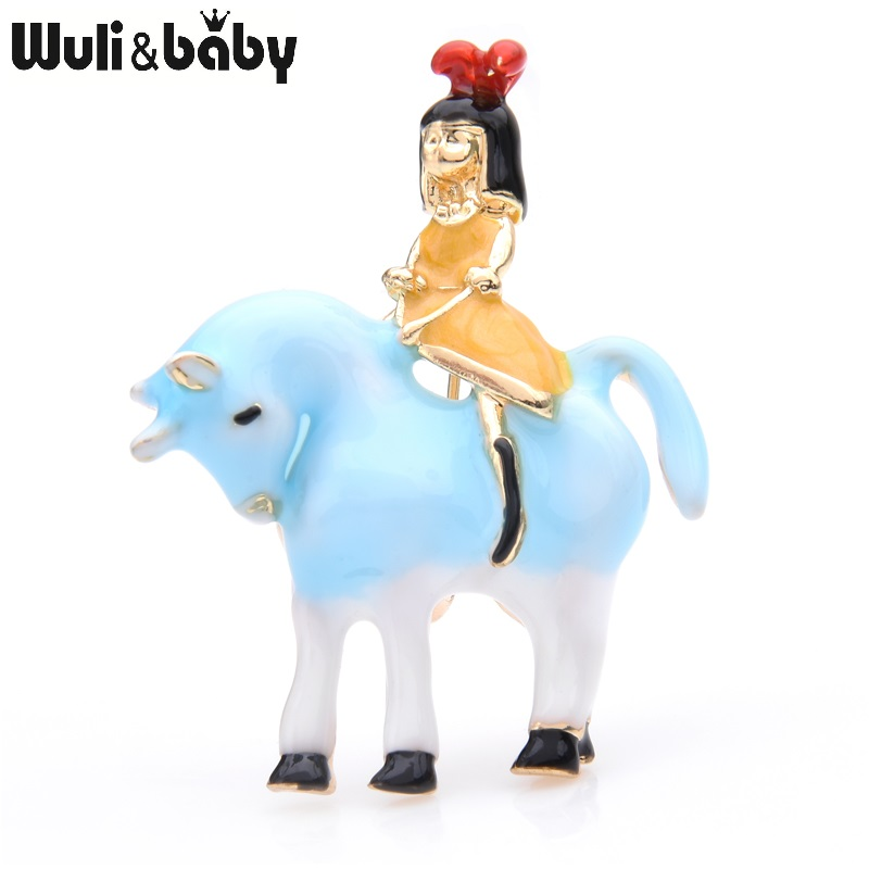 Wuli&baby Pink Blue Girl Riding <font><b>Horse</b></font> Brooches Women Alloy Animal Enamel Casual Party Brooch Pins New Year Gifts image