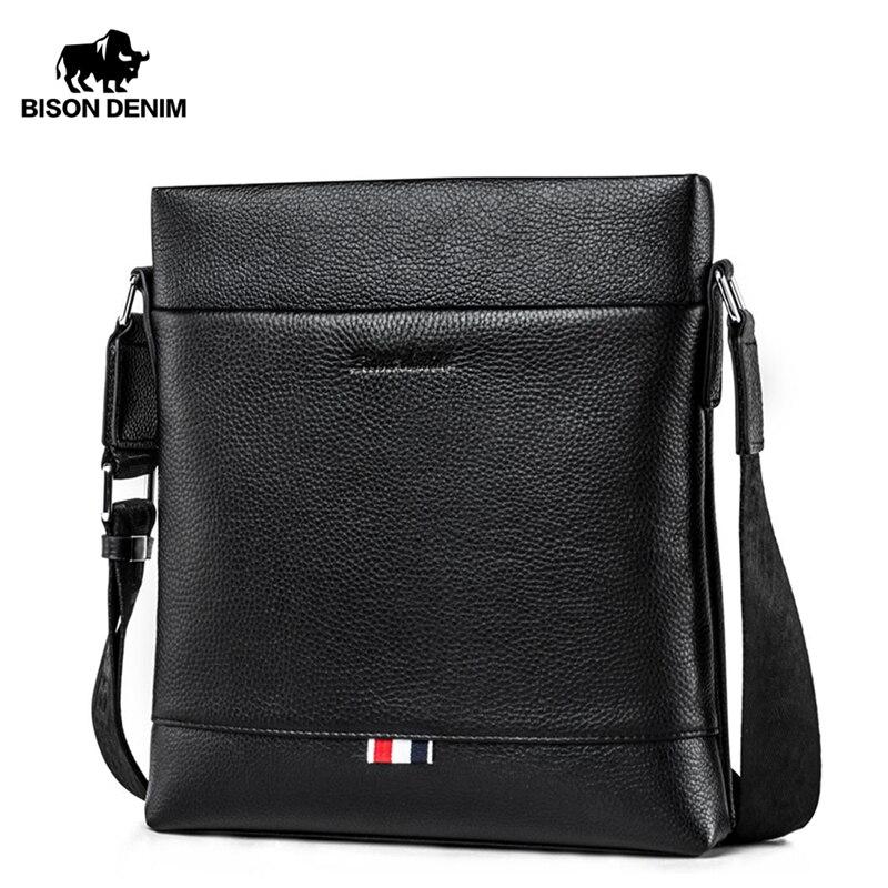BISON DENIM Genuine Leather Men Bag Casual Business Crossbody Bag IPad Mens Messenger Bag Classic Black Bolsas Male N2821