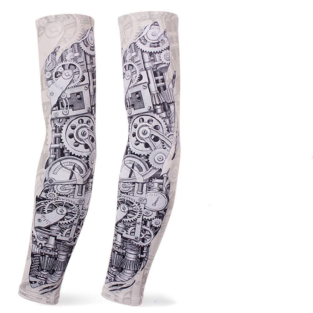 Long Gloves Sun UV Protection Sleeve Ice Silk Sunscreen Arm Sleeves Flower Arm Tattoo Sleeve(mechanical Gear)12