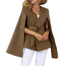 Womens Winter Vintage Cloak Batwing Sleeve Poncho Cape Belted Waist Trench Coat batwing sleeve wool cape coat