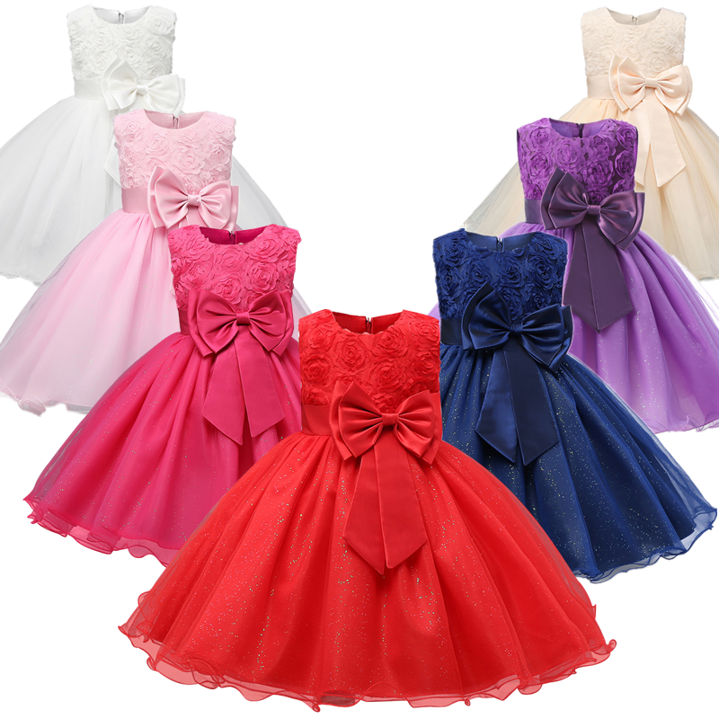 Kids Christmas Dress for Girls Clothes Children Lace Princess Flower Dress Elegant Wedding Birthday Prom Gown New Year Costume 1