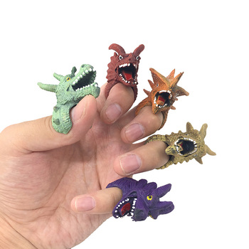 1 Pc Mini Cartoon Simulation Dragon Dinosaur Finger Puppets Set Role Playing Toy Kids Tell Story Prop For Children image