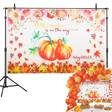 Baby Shower Pumpkin party Decoration Pumpkin party Backdrop Fall Photography Background Studio Props background decoration yeele cartoon leaves monkey animals baby birthday party photography background customized photographic backdrop for photo studio