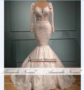 Image 2 - Yeni mermaid dantel düğün elbisesi ayrılabilir etek ile 2 in 1 düğün elbisesi es