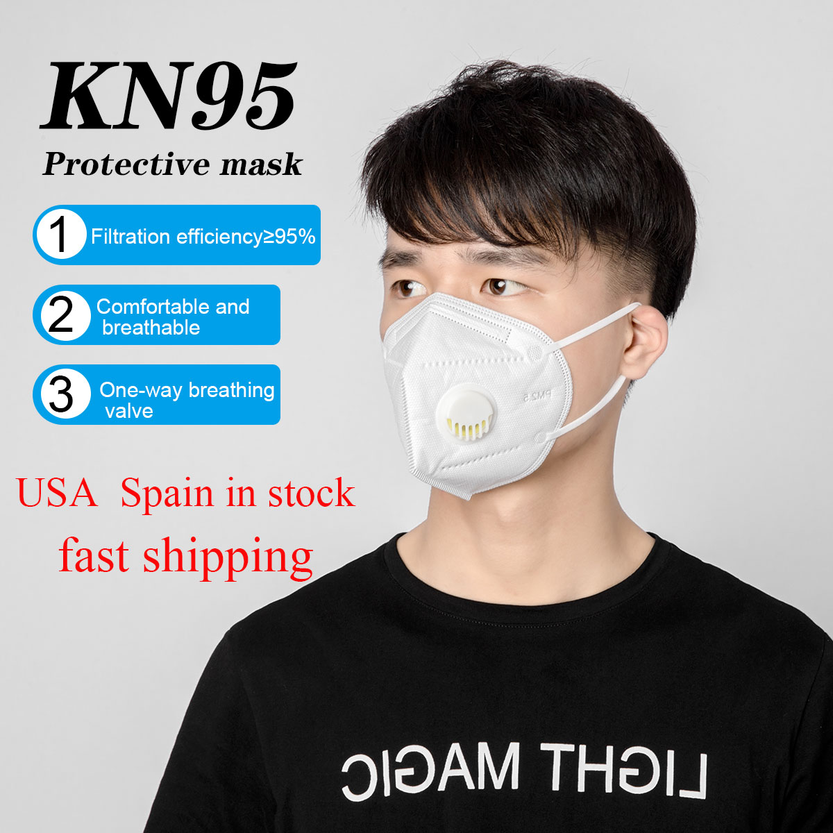 10/20/50/100pcs KN95 Anti-dust Mouth Mask With Breathing Valve Respirator Face Mask Protection Comfortable Mouth Mask White