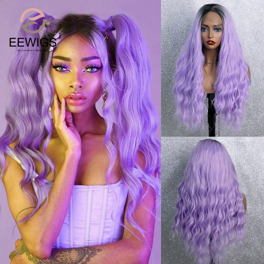 """EEWIGS resistente al calor de la onda suelta peluca Cosplay 26 """"sintético peluca con malla frontal verde neón Rosa ceniza púrpura Ombre pelucas para mujeres negras"""