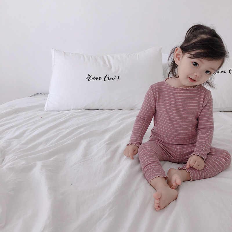 Nuevas niñas pijamas ropa de bebé conjuntos de rayas de fibra de bambú niños pijamas otoño camiseta y pantalones niños ropa de dormir 1 2 3 4 5 años