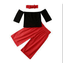 Fashion Toddler Baby Girl Kids Off Shoulder Black T-Shirt Tops and Red Wide leg Pants Autumn Clothes Outfits(China)
