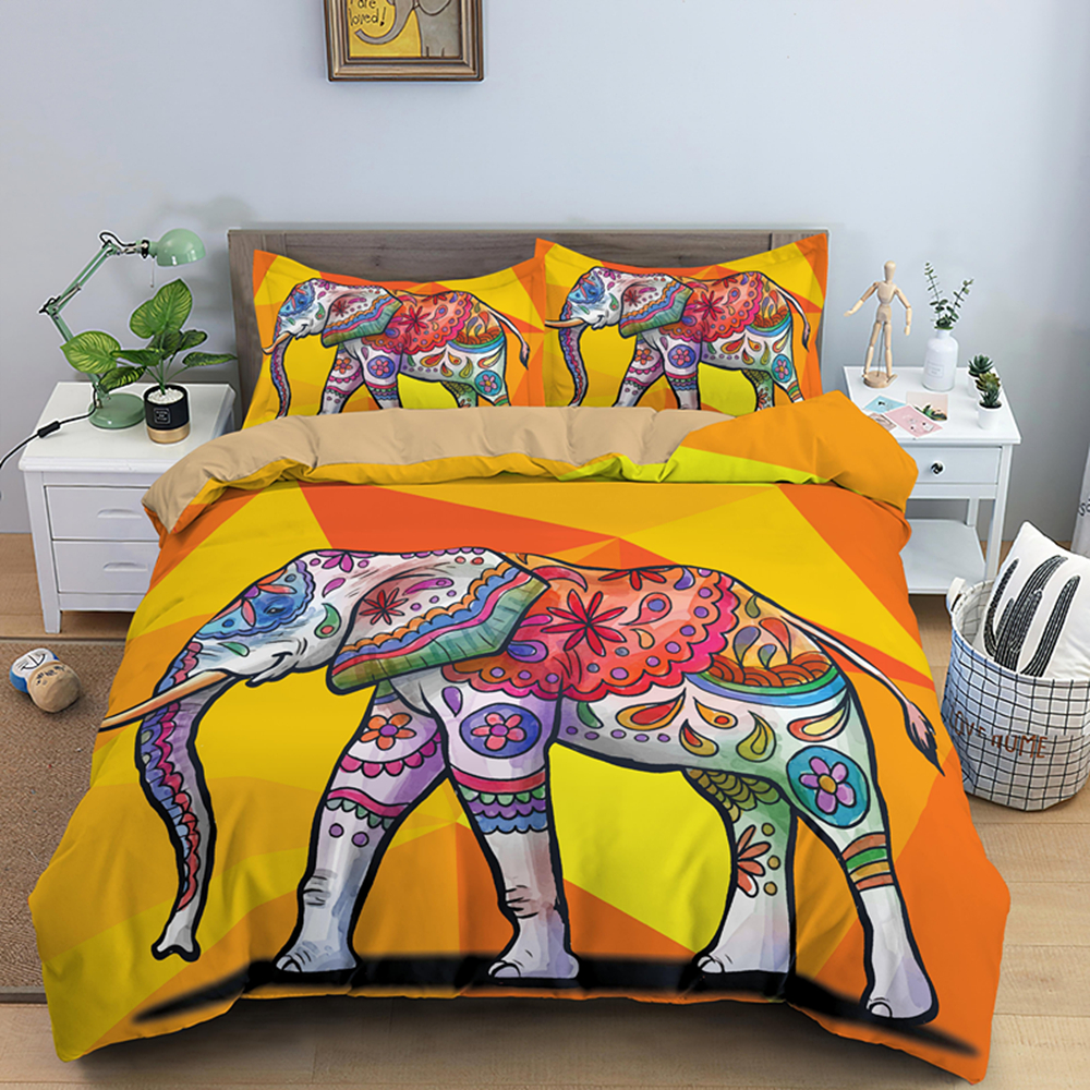 Psychedelic Boho Elephant King Queen Bedding Sets 2/3Pcs Duvet Cover Set With Pillowcase Hippie Quilt Covers Bed Linen