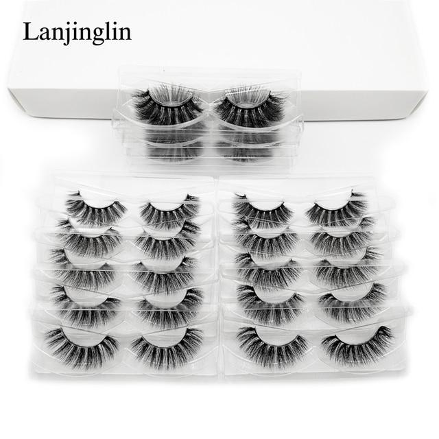 wholesale 3d mink false eyelashes 20/30/40/50/100 pairs fluffy wispy fake lashes natural long makeup lash extension in bulk 3