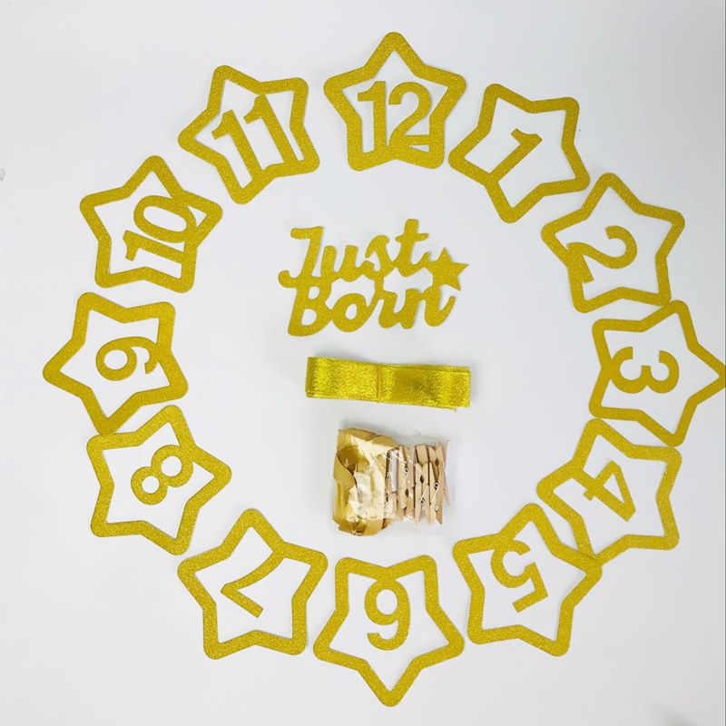 Geburtstag ein Banner Foto Clip mit Holz Schellen Meilenstein Kinder Zimmer Dekorative Baby Wachsen Souvenirs Gold Foto Feld Requisiten