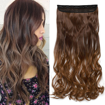 s-noilite 47Color 24Inch Long Wavy Women Clip In One Piece synthetic Hair Extensions Black Brown Fake clip Hairpiece for women 1
