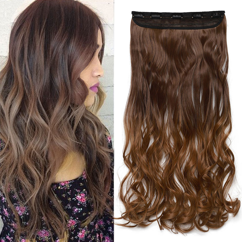 s-noilite 47Color 24Inch Long Wavy Women Clip In One Piece synthetic Hair Extensions Black Brown Fake clip Hairpiece for women
