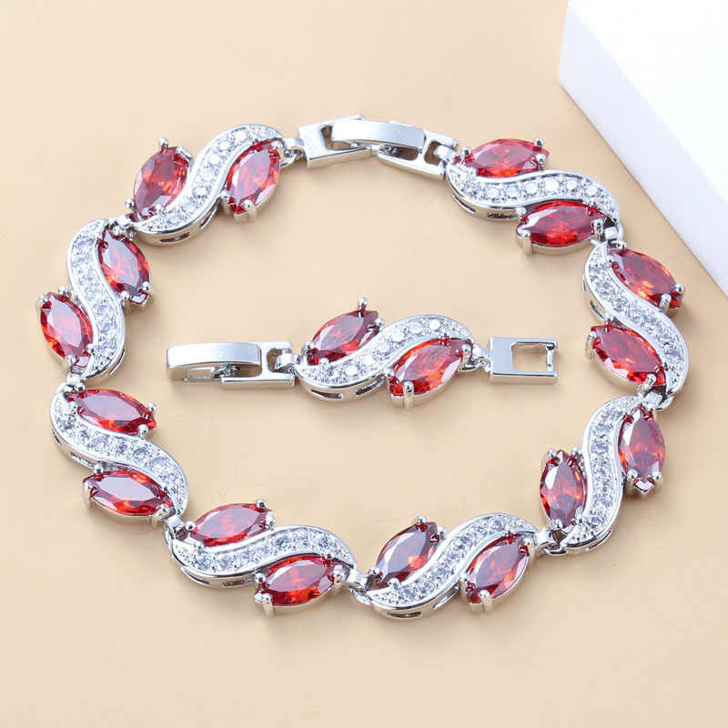 Bridal Wedding Red Garnet Zircon 925 Sterling Silver Link Bracelet Health Fashion Jewelry For Women Free Jewelry Box B36