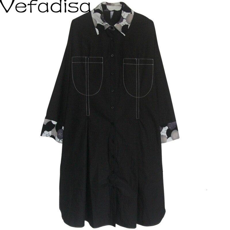 Vefadisa automne solide robe irrégulière noir col montant robe droite simple boutonnage à manches longues femme robe 2019 QYF597