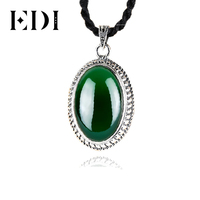 EDI 2017 New Design 925 Sterling Silver Natural Gemstone Pendant Green Chalcedony S925 Brand Fine Jewelry Gifts