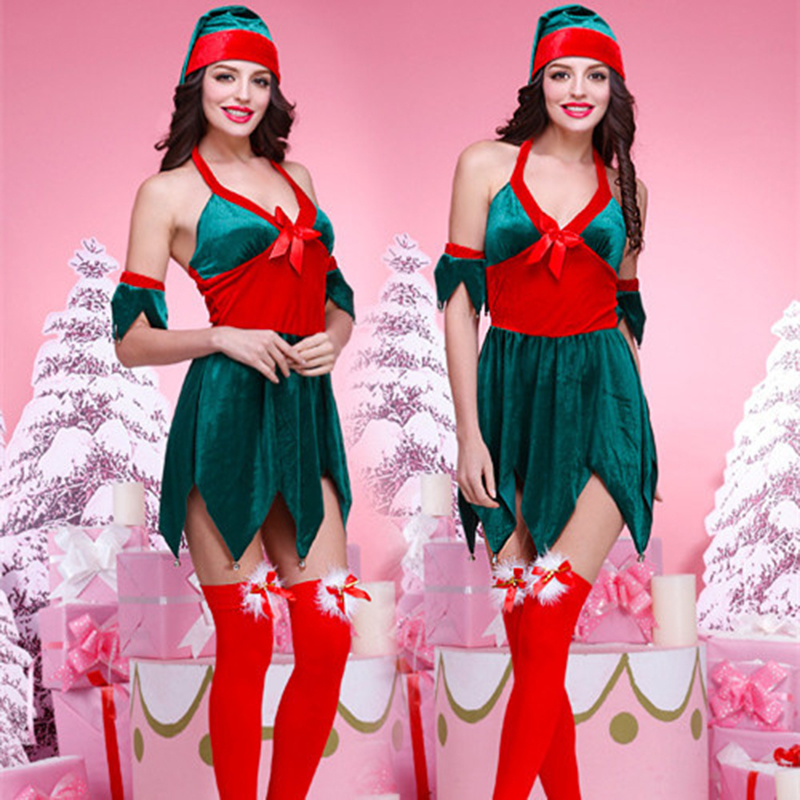 <font><b>Sexy</b></font> <font><b>Lingerie</b></font> Babydoll Green Christmas Outlits Erotic Underwear <font><b>Hallowen</b></font> Party Cosplay Costumes Masquerade Role-playing Costume image