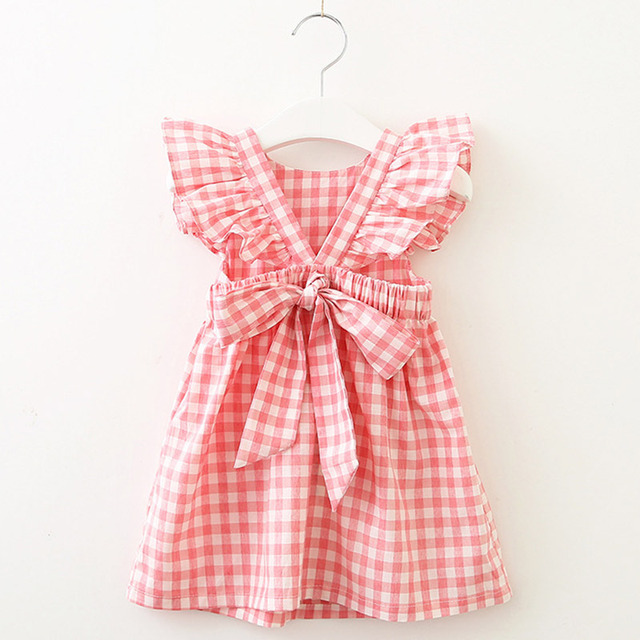 Belt lace sleeveless bow summer lovely girls clothes 3-7 Year Kids Princess Dresses