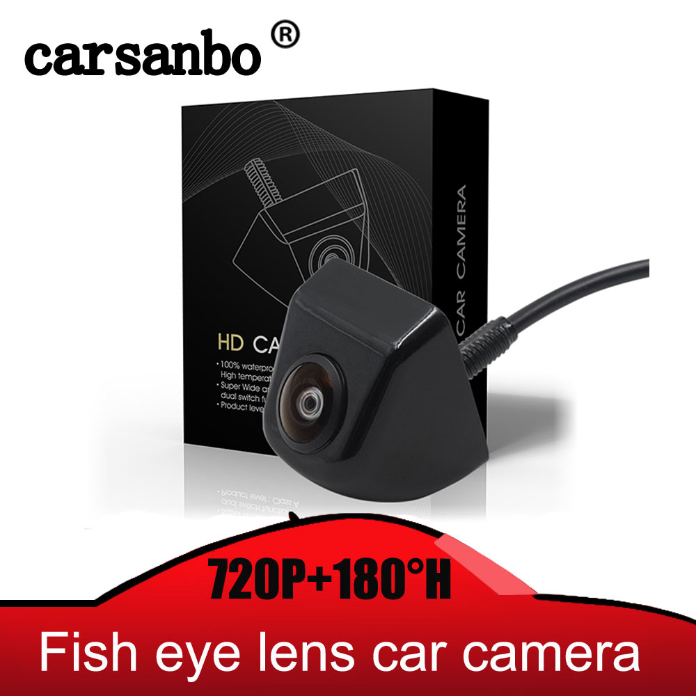 Carsanbo Fish Eye Lens Starlight Night Vision Vehicle Rear Front View Camera Reverse Camera Hd 720P Vision With 180H Wide Angle