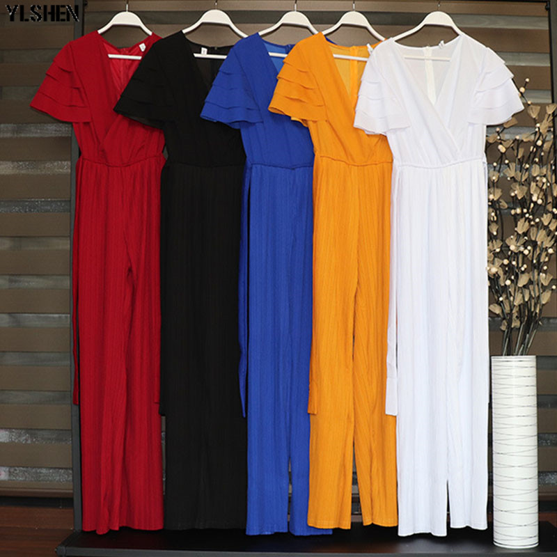 Classic Pleated Jumpsuit African Dresses For Women Dashiki African Clothes Traditional Elastic Wide  Jumpsuits Africa Clothing