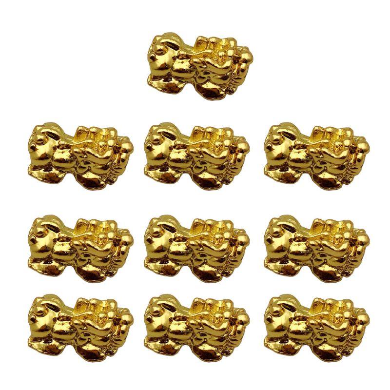 10Pcs Golden Wealth Porsperity Pi Xiu Beads Pi Yao Charm Bracelet Jewelry Making