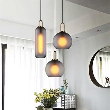 Loft Modern Pendant Light Clear Grey Glass Ball Hanging Lamp Hanglamp Kitchen Light Fixture Dining room Living Room Luminaire