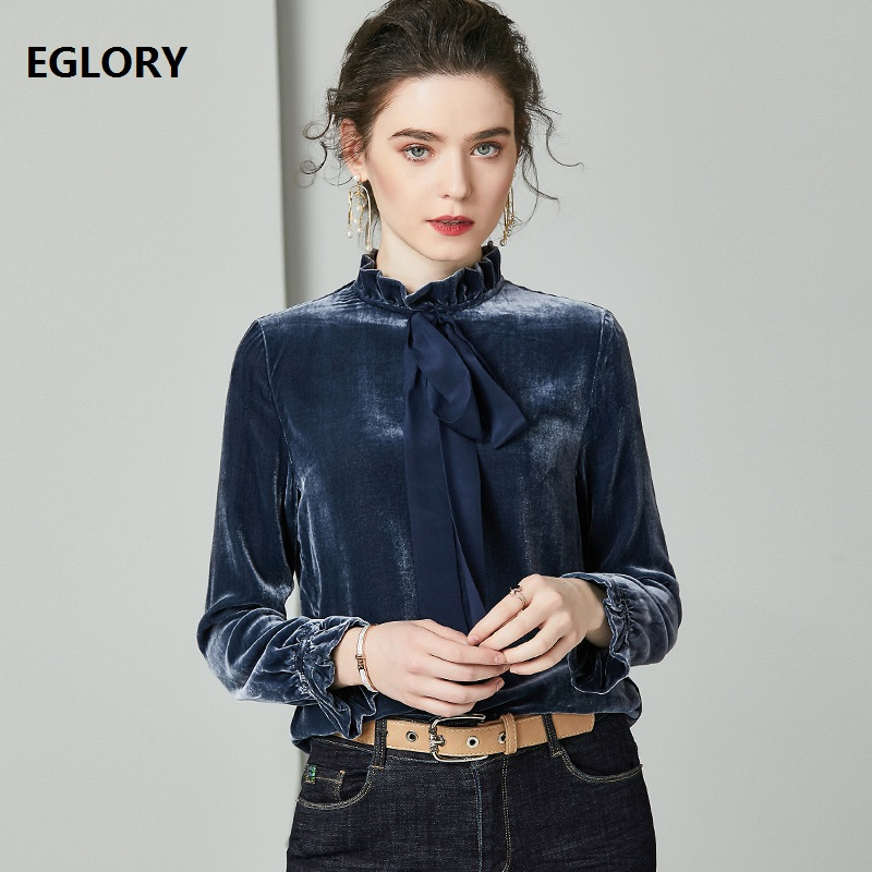 Bow Tie Elegant Blouse Shirts 2020 Spring Tops Women High Quality Silk Velour Long Sleeve Dark Green Blue Blouses Shirt Female
