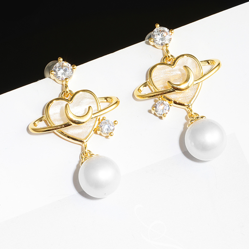 2020 new wave shell love pearl earrings simple and delicate earrings Galaxy exquisite elegant metal Fashion Stud Earrings