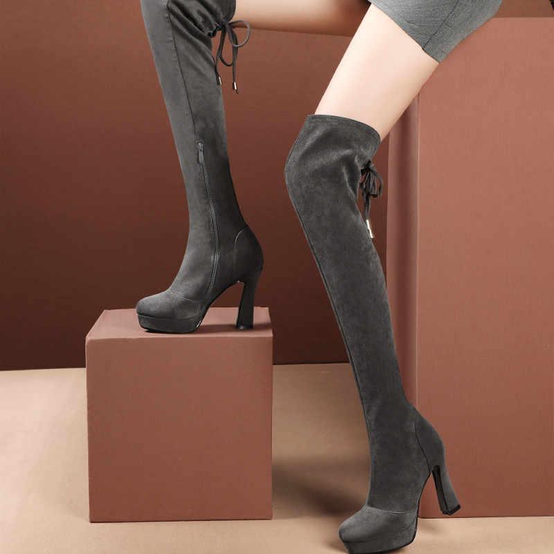 Kahozin คุณภาพสูงผู้หญิงกว่าเข่าบู๊ทส์ suede แพลตฟอร์ม super high10CM ฤดูหนาวรองเท้าผู้หญิงสีดำสีเทาซิปด้านหลัง tie size43