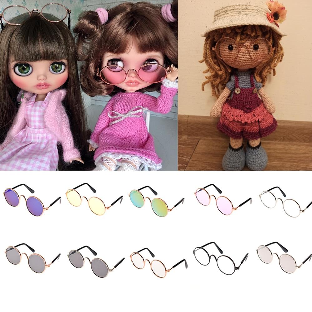 1PC akcesoria dla lalek okrągłe okulary różowe okulary okulary BJD Blyth American Grils zabawki rekwizyty fotograficzne Pet Dog Cat okulary