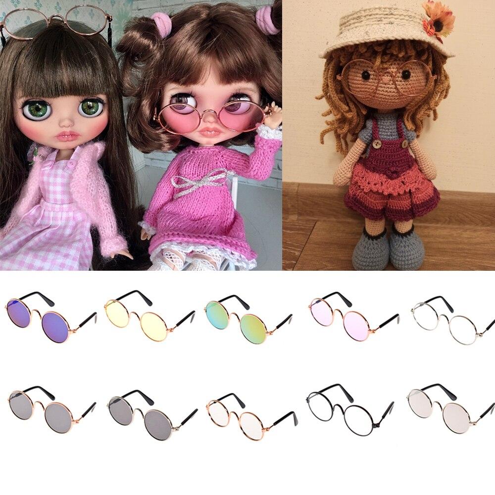 Accesorios para muñeca, gafas redondas, gafas rosas, gafas de sol BJD Blyth American Grils, accesorios para fotos, juguetes para mascotas, perro, gato, gafas de sol 1 unidad