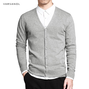 Cotton Cardigan Sweater Men Clothing Long Sleeve Men Knitted Cardigan V-Neck Sweaters Solid Button Fit Casual Pull Homme Clothes