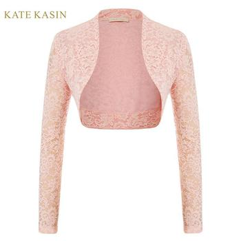 Kate Kasin Lace Cropped Cardigan Women Long Sleeve Lace Shrug Bolero Open Front Lace Crop Jacket Tops 2020 New Fashion Shrugs фото