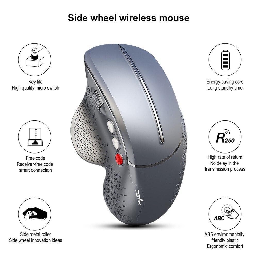 Botões de Jogo do Rato Mouse sem Fio Lado da Roda do Mouse para pc Nova Vertical Kuwfi 800–3200dpi Ergonômico – Laptop 2020 6